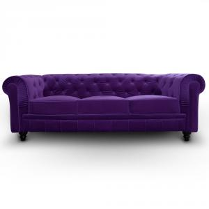 canapé chesterfield velours violet 1