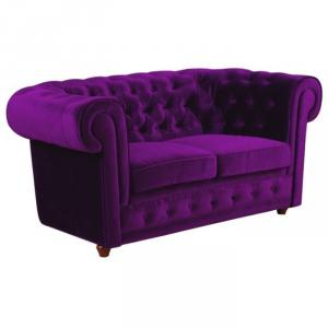 canapé chesterfield velours violet 2