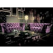 canapé chesterfield velours violet 4
