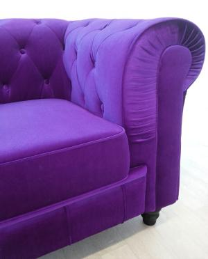 canapé chesterfield velours violet 5
