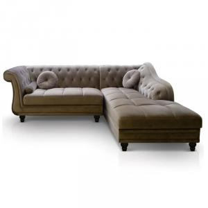 canapé chesterfield velours taupe 14