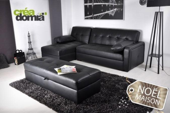 photos canap d 39 angle cuir convertible avec coffre de. Black Bedroom Furniture Sets. Home Design Ideas