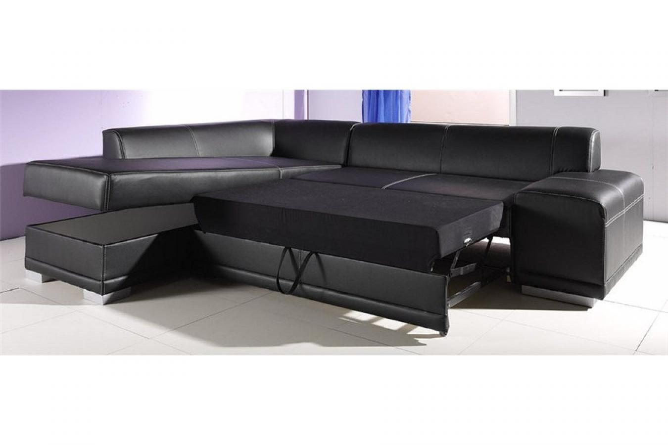 Photos canap d 39 angle cuir convertible avec coffre de for Canape cuir angle