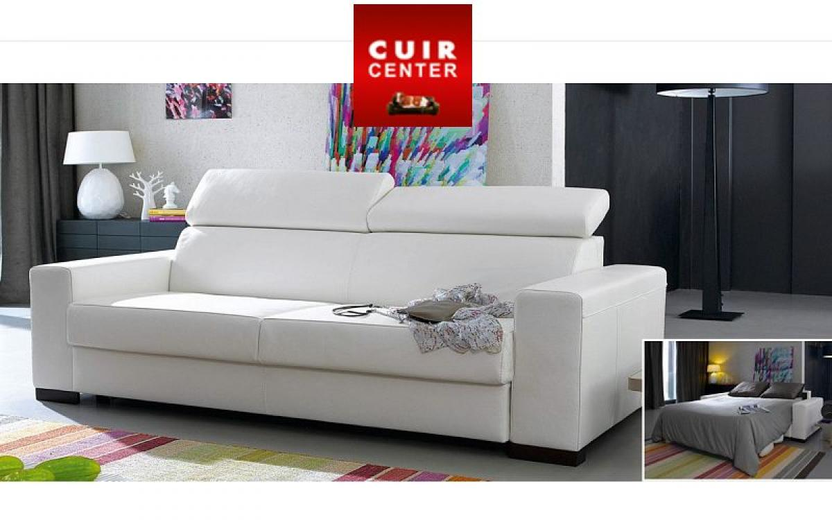 Photos canap convertible 2 places cuir center - Canape cuir center convertible ...