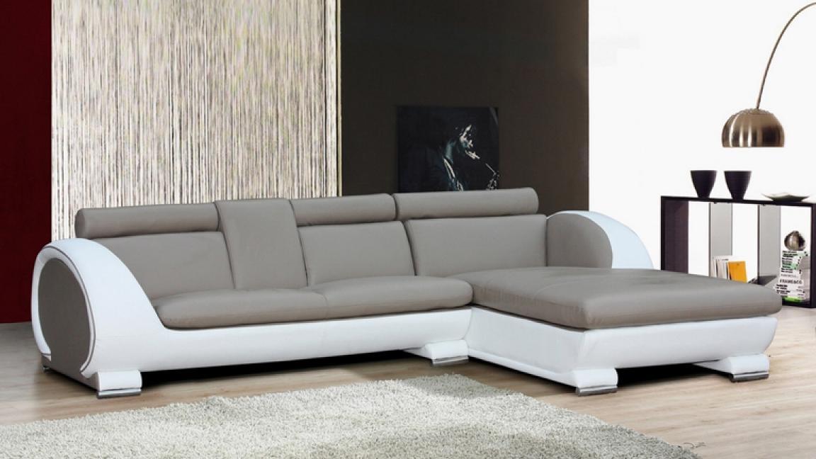 s canapé gris et blanc cuir