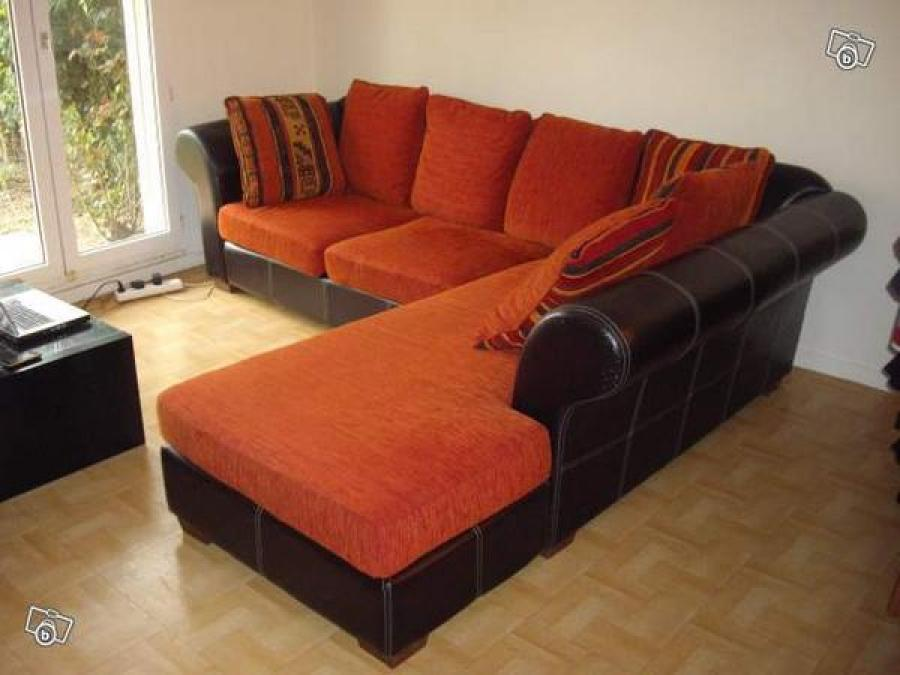 photos canap marron et orange. Black Bedroom Furniture Sets. Home Design Ideas