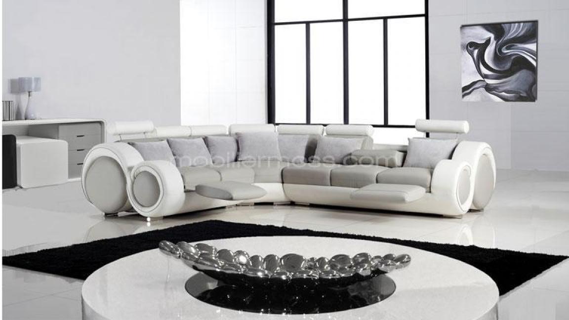 Photos canap d 39 angle design gris et blanc - Canape gris et blanc angle ...