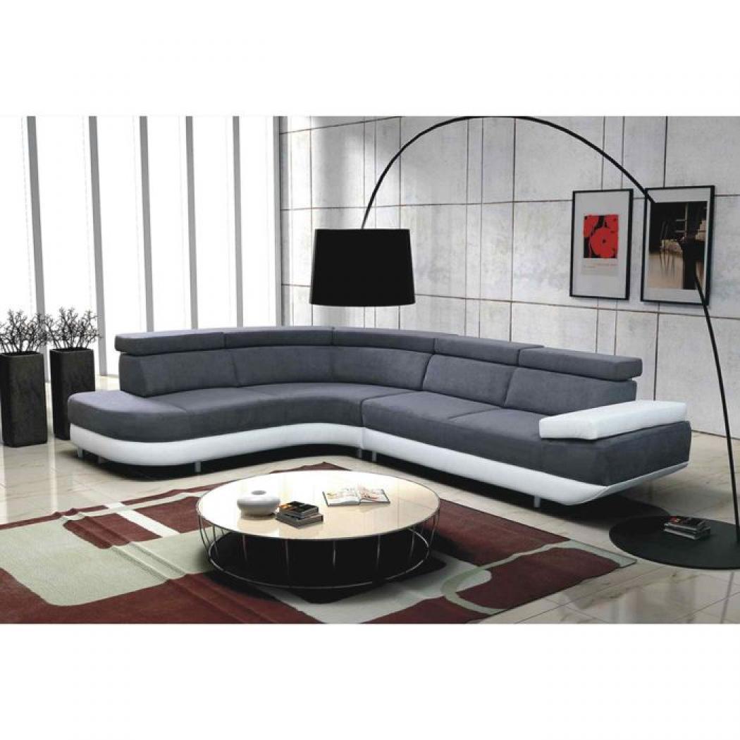 s canapé d angle design gris et blanc