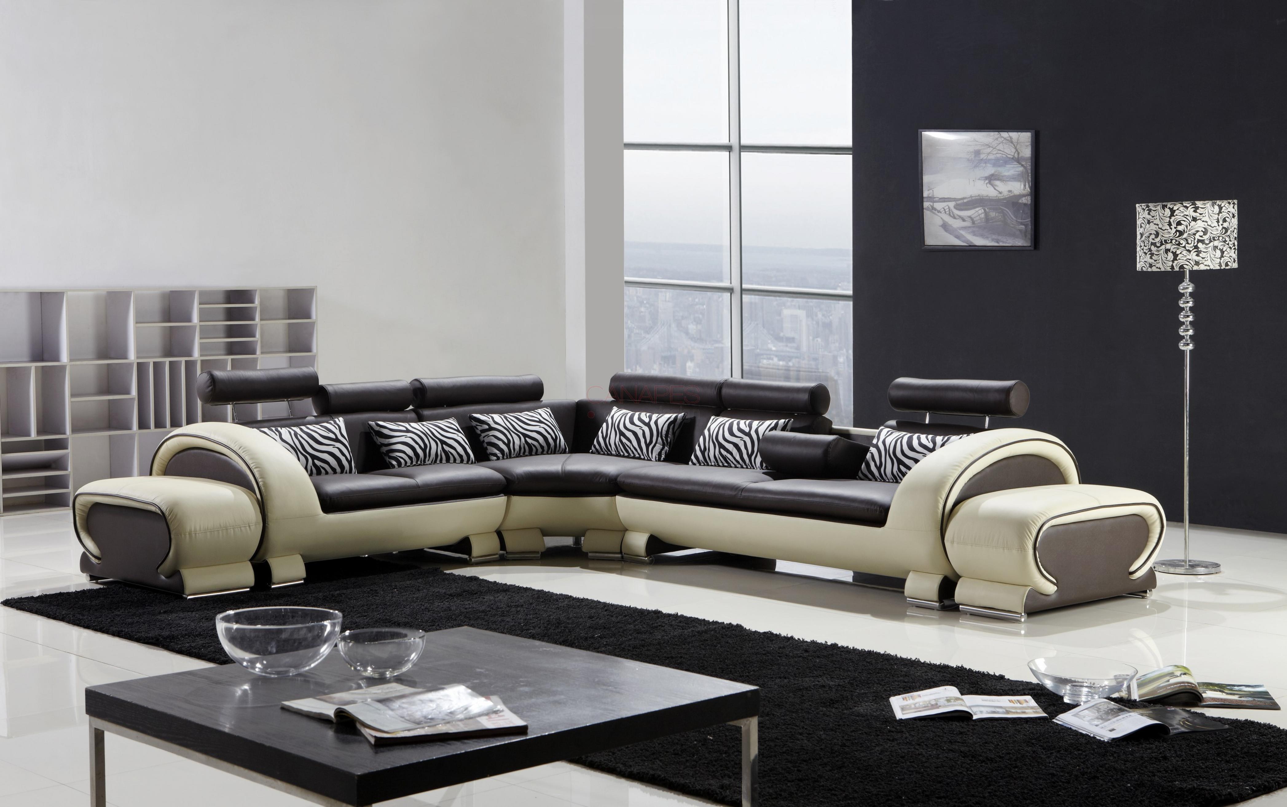Grande Canape Dangle Tissu Et Cuir Natural Home Design