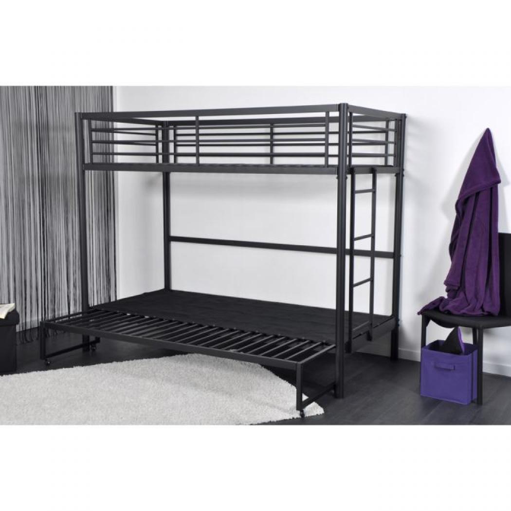 Lit mezzanine 2 places avec canap attractive lit for Lit superpose pour tout petit