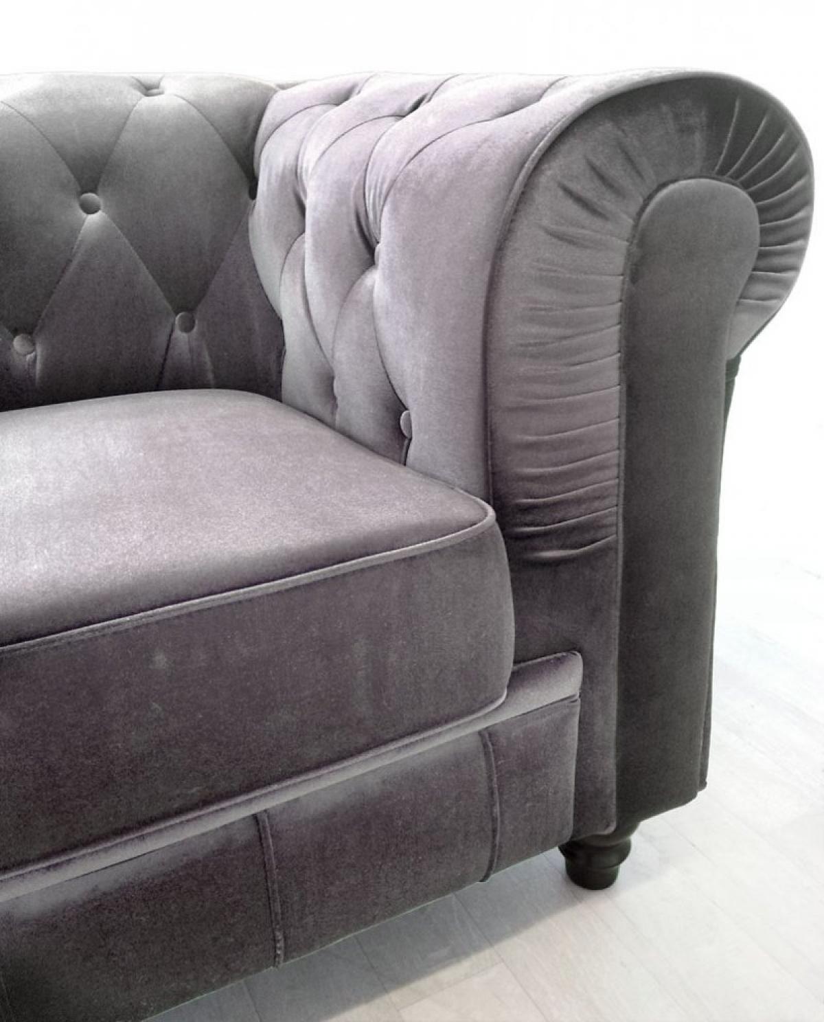 Photos canapé chesterfield velours gris