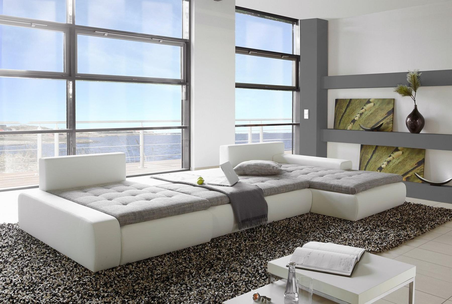 photos canap d 39 angle convertible gris et blanc pas cher. Black Bedroom Furniture Sets. Home Design Ideas