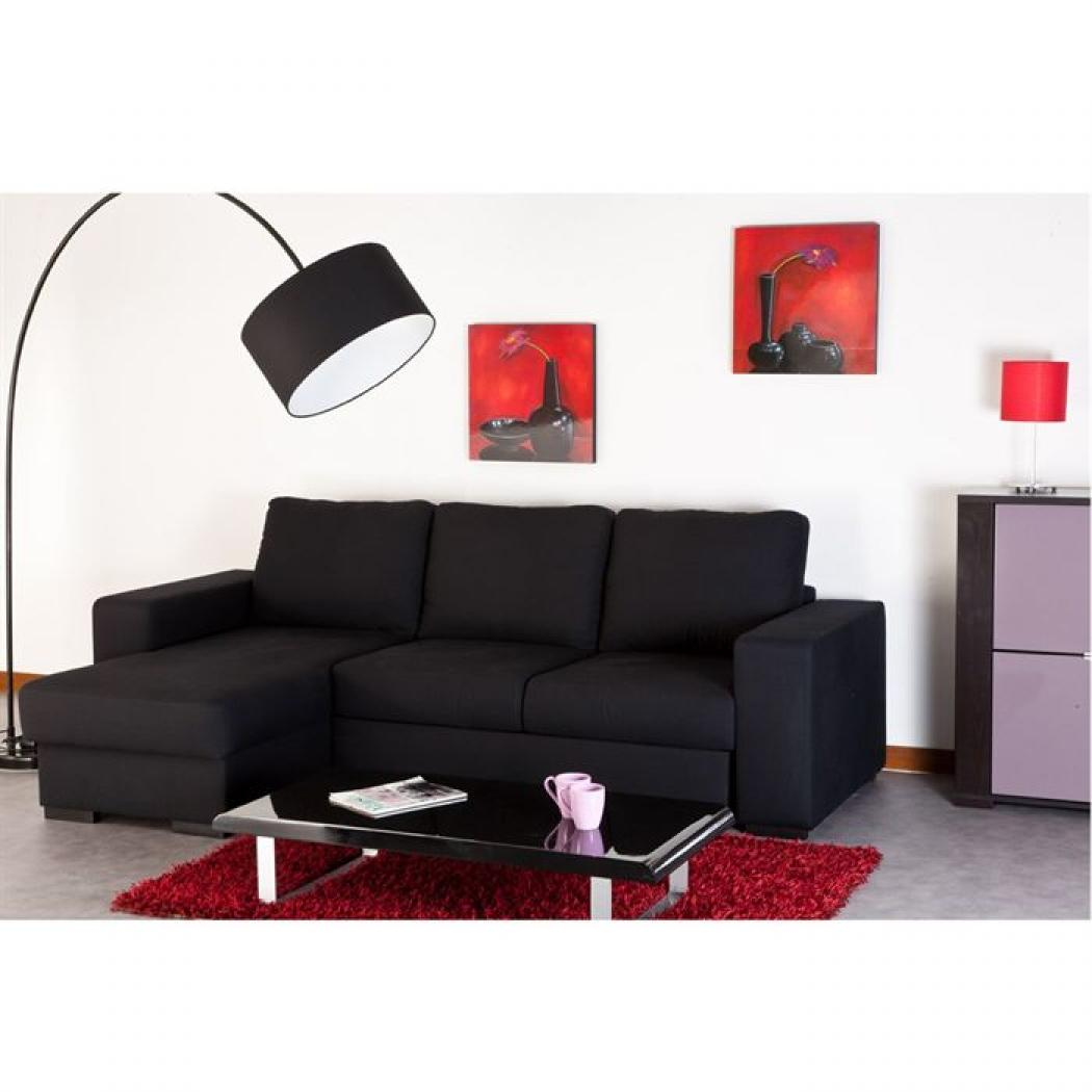 photos canap d 39 angle convertible noir pas cher. Black Bedroom Furniture Sets. Home Design Ideas