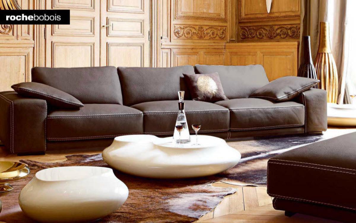 s canapé modulable cuir contemporain roche bobois