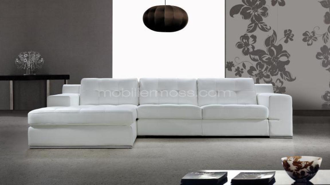 Photos Canapé Dangle Cuir Blanc Design - Canape blanc cuir design