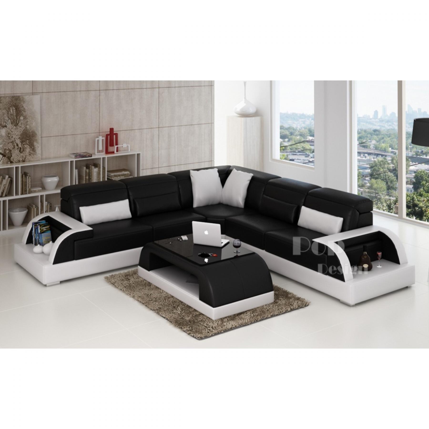 Photos canap d 39 angle cuir blanc et noir for Canape d angle cuir blanc