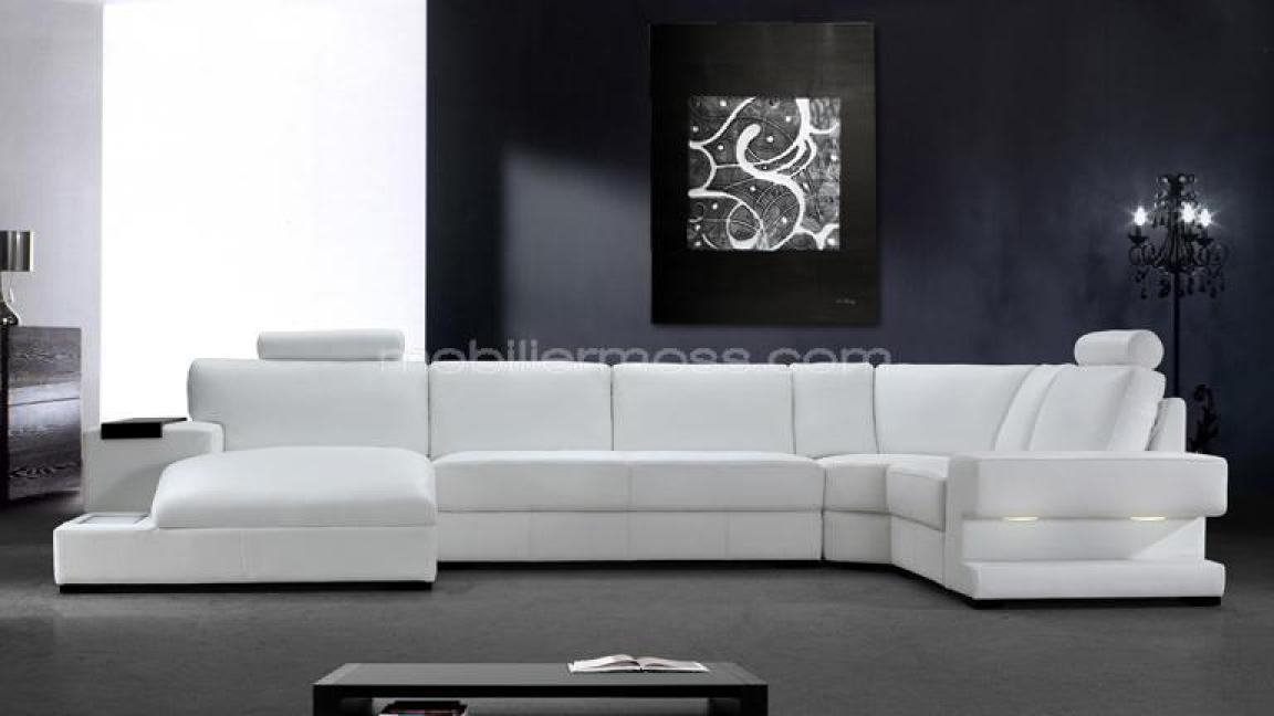 photos canap d 39 angle cuir blanc italien. Black Bedroom Furniture Sets. Home Design Ideas