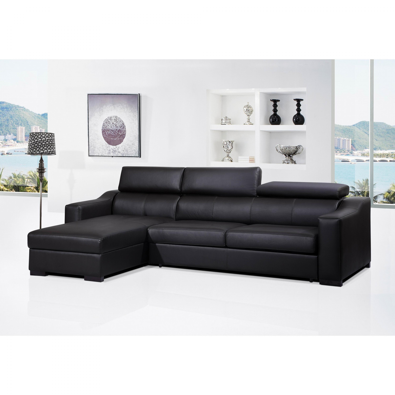 photos canap d 39 angle cuir convertible avec coffre de rangement. Black Bedroom Furniture Sets. Home Design Ideas