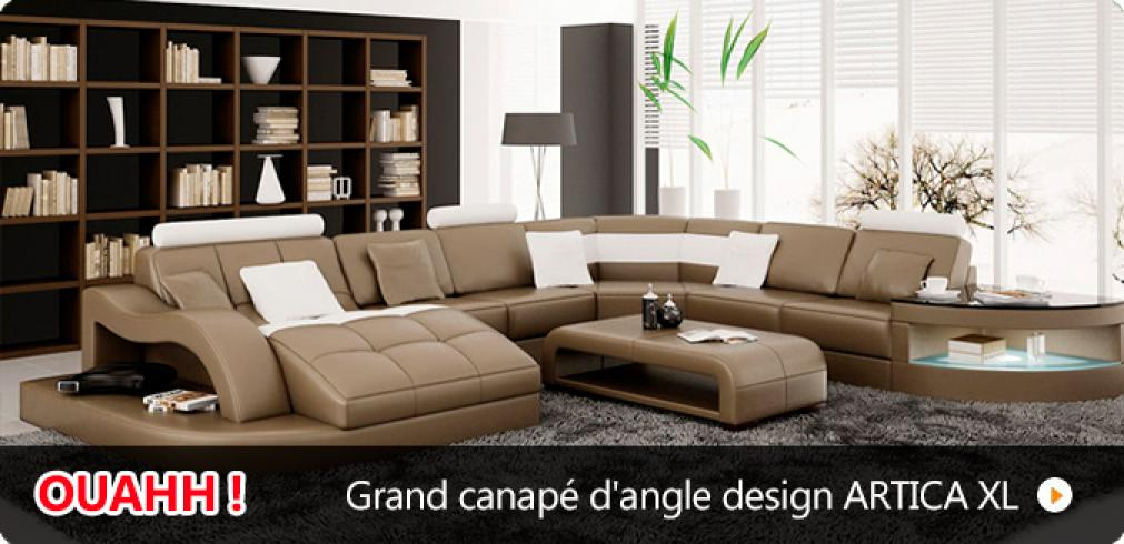 Photos Canapé Dangle Cuir Design Pas Cher - Canapé angle design pas cher
