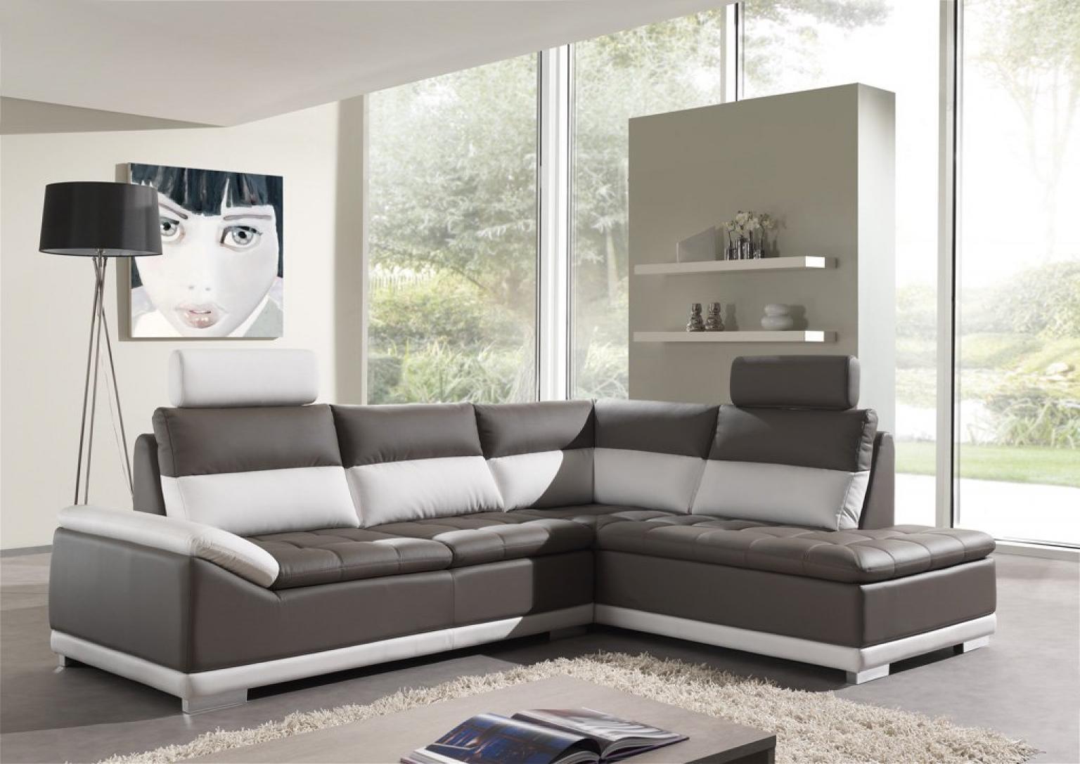 full canape d angle cuir gris et blanc 1 Résultat Supérieur 49 Superbe Canape Cuir Gris Blanc Galerie 2017 Kse4