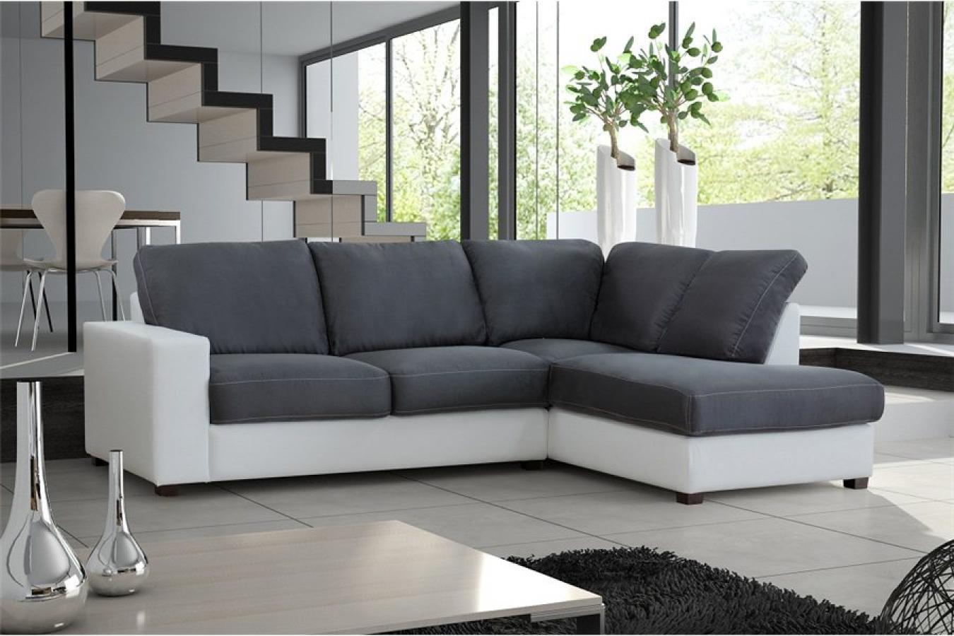 s canapé d angle gris et blanc pas cher