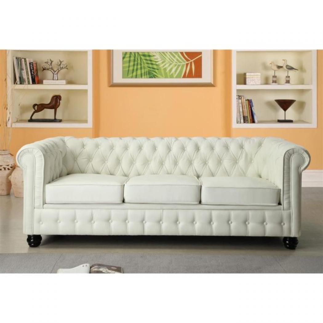 photos canap convertible cuir blanc 3 places. Black Bedroom Furniture Sets. Home Design Ideas