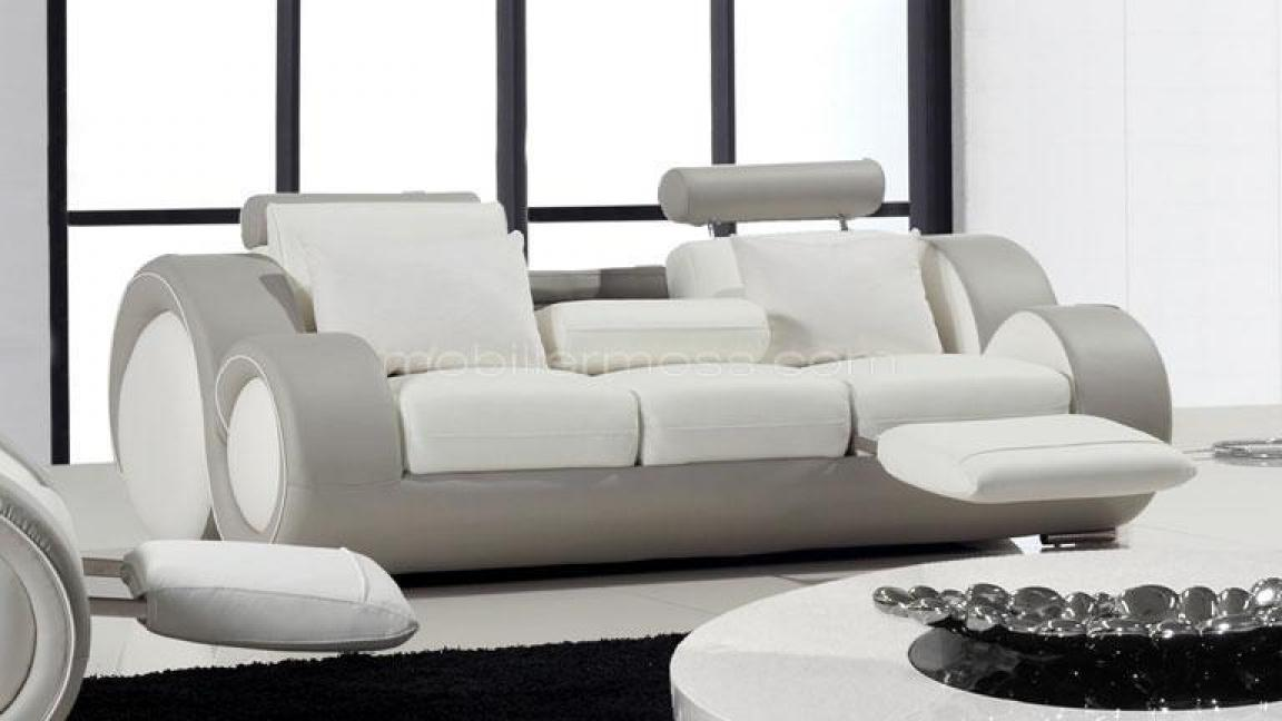 photos canap convertible cuir blanc 3 places. Black Bedroom Furniture Sets. Home Design Ideas