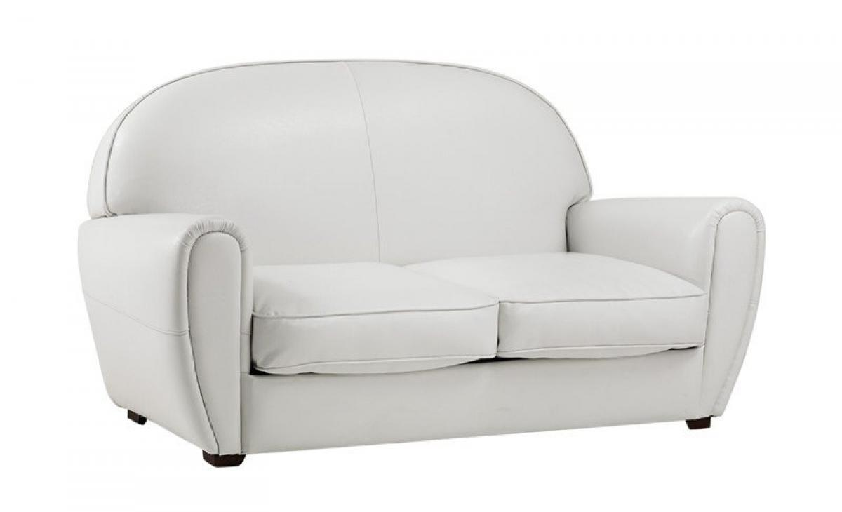photos canap convertible cuir blanc 2 places