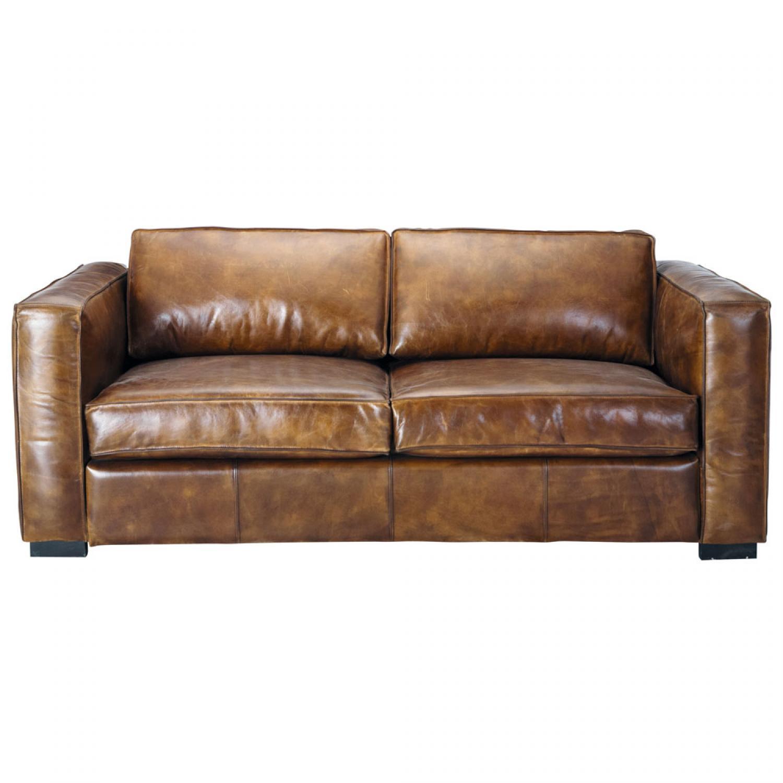 s canapé convertible cuir marron vieilli
