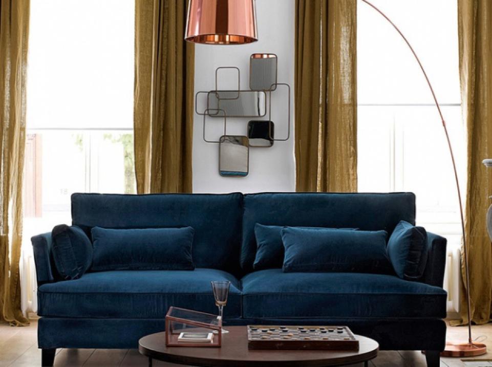 photos canap velours bleu. Black Bedroom Furniture Sets. Home Design Ideas