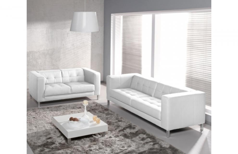 Photos Canapé Places Design - Canapé blanc 4 places