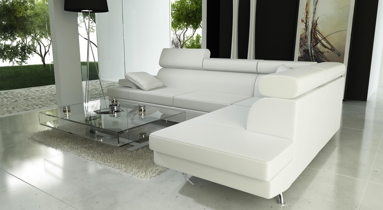 s canapé angle cuir blanc