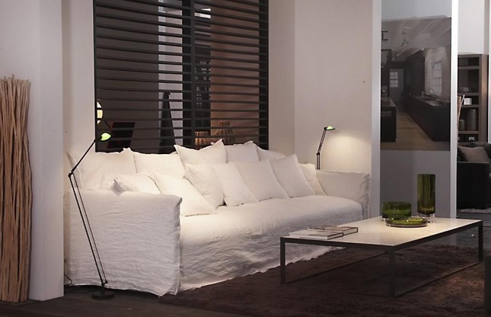Photos canapé blanc tissu
